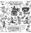 tattoo art design of lord rama ravana and hanuman vector image vector image