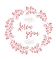 the wreath of pink flowers round romantic flower vector image