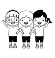 three girl embraced vector image vector image