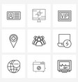 ui set 9 basic line icons group group vector image vector image