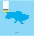 ukraine country map with flag over blue background vector image