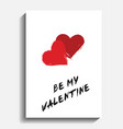 valentine card painted hearts on white vector image vector image