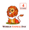 world animal day lion concept background cartoon vector image