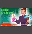 young female professional gamer tell about how to vector image