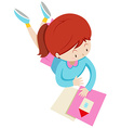 Little girl reading a book vector image
