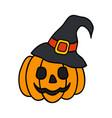halloween pumpkin with witch hat halloween concept vector image