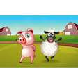 A pig and a sheep dancing at the farm vector image vector image