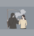 addiction to smoking and death concept vector image