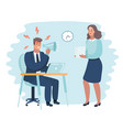 angry boss and frightened employee vector image