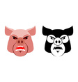 Angry pig Aggressive wild boar Logo big boar vector image vector image