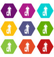 arabic man icon set color hexahedron vector image vector image