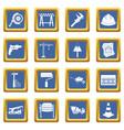 architecture icons set blue vector image