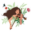 beautiful girl playing violin surrounded birds vector image