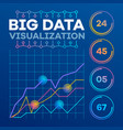big data visualization banner outline style vector image
