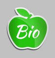 bio logo in green apple vector image vector image