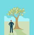 businessman looking at money tree vector image vector image