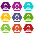 client services phone assistance icon set color vector image vector image