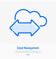 cloud management thin line icon vector image vector image