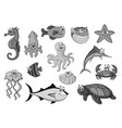 fishes and ocean animals cartoon icons vector image vector image