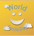 flat design smile cartoon isolated on yellow vector image