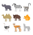flat style set of animals rhinoceros wolf lemur vector image vector image