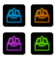 glowing neon upload inbox icon isolated on white vector image vector image