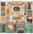 Halloween scrapbook set - decorative elements vector image vector image