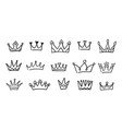 hand drawn doodle crowns icons vector image