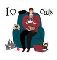 happy man with cats card vector image