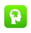 head with puzzle icon digital green vector image