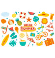 hello summer collection set flat design on white vector image