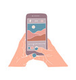 human hands holding smartphone and take a vector image