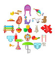 infant icons set cartoon style vector image