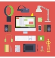 Items from the digital artist workplace vector image vector image