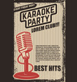 karaoke party poster vintage microphone on grunge vector image vector image