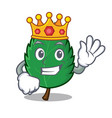 king mint leaves mascot cartoon vector image vector image