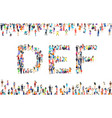 large group people in letter d e f sign vector image vector image