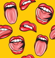 Lips pop art seamless pattern2 vector image vector image