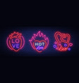 love is a set of symbols collection of neon signs vector image