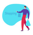 man is shopping man holding bags vector image vector image