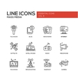 Mass Media line design icons set vector image