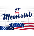 memorial day 27 may light stripes banner vector image vector image