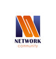n letter icon for network community vector image vector image