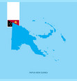 papua new guinea country map with flag over blue vector image