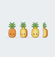 pineapple fruit set cute kawaii food faces vector image
