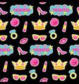 princess fashion embroidery seamless pattern vector image