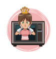 princess videogame character cartoon on tv vector image