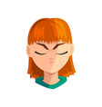 sad redhead girl with closed eyes female vector image vector image