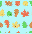 seamless forest pattern with cute emotional vector image