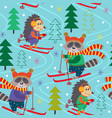seamless pattern winter fun with animals on ski vector image